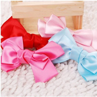 Pet Hairpin Pet Headdress Three Large Satin Bow Barrette Hair Accessories Hand Made Cute Hairpin For