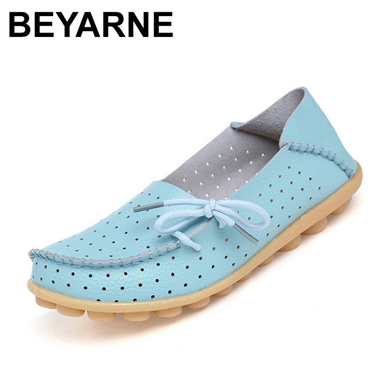 BEYARNE 2018 Women 2017 lace up Casual Shoes Women Flat Heel Cow Muscle Outsole Flat soft Women cutouts Genuine Leather Shoes