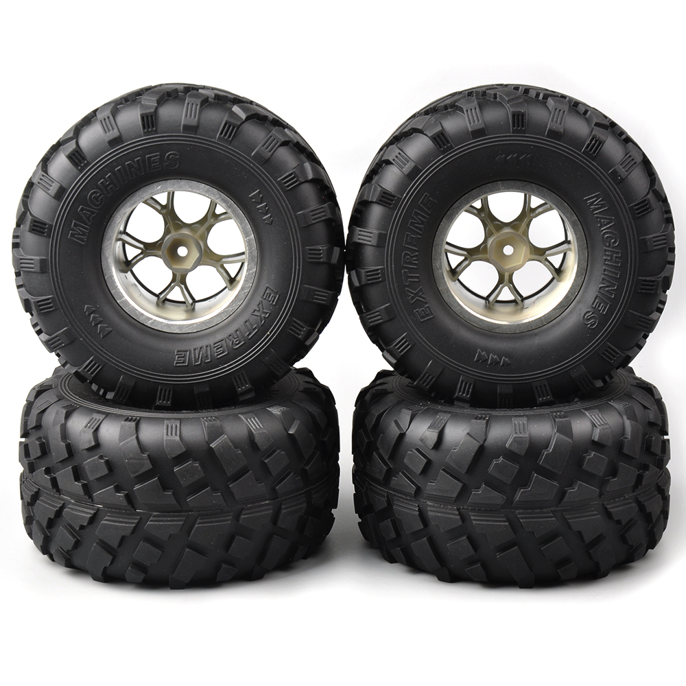 4 PCS/Set 12mm Hex Rubber Tires Wheel Rims 3004 silver For HSP Racing 1:10 RC truck Bigfoot Car 4pcs rc crawler truck 1 9 inch rubber tires