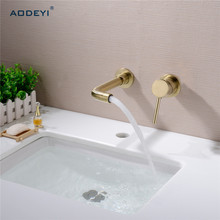 Matte Black Brass Wall Mounted Basin Faucet Single Handle Bathroom Mixer Tap Hot Cold Sink Faucet Rotation Spout,Burnished Gold