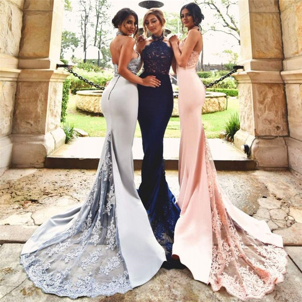 2018 Modest Mermaid Halter Appliques Backless Trumpet Navy Blue Blush Silver Lace Train   Bridesmaid     Dress   Wedding Party   Dresses