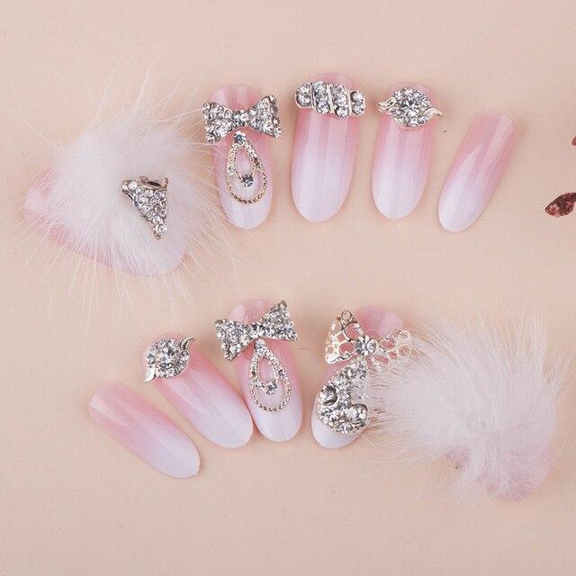 Free Shipping False Nails 24Pcs/Set Acrylic Nail Art Elegant Crystal ...