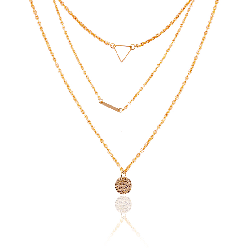F&U N448 Fine Jewelry Multilayers Chain Necklace Three Layers Round / Triangle Pendant Necklace Noble Metal Plated