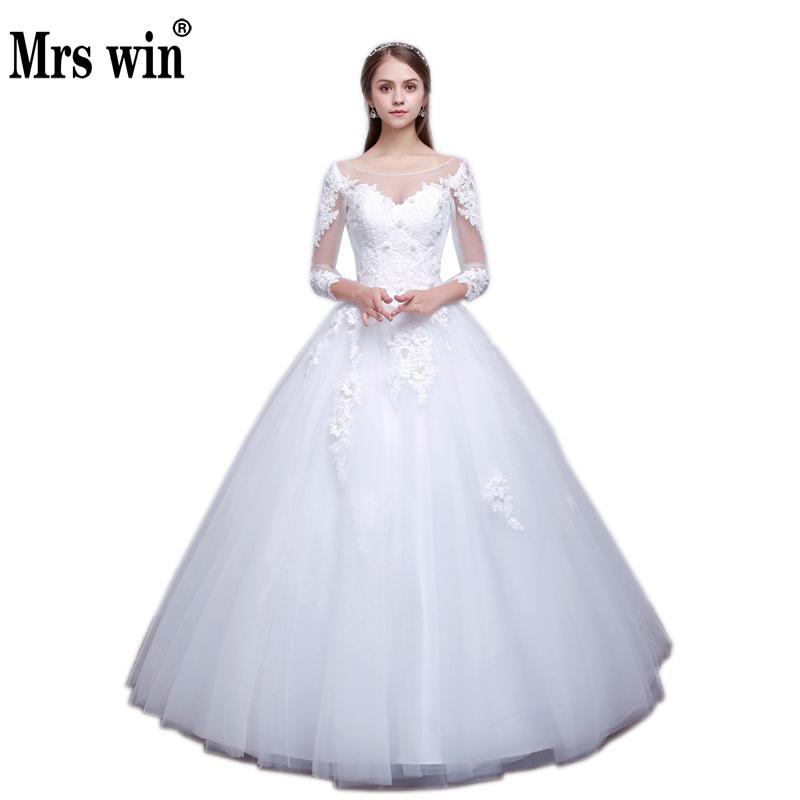 Wedding Dress The Mrs Win Elegant Boat Neck Sweet Stereo Flowers Ball Gown Princess Bridal Gown Vestido De Noiva For Girls F