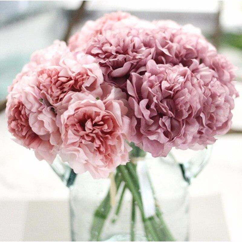 1pcs 5 Heads Artificial Hydrangeas Flowers Bridesmaid Bridal Bouquet Latex Artificial Flower For Party Wedding Decoration Diy