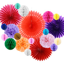 Pack of 20 Assorted Wedding Party Decoration Set Tissue Paper Fans Honeycomb Balls Pom Poms Bridal Shower Birthday Party Supply