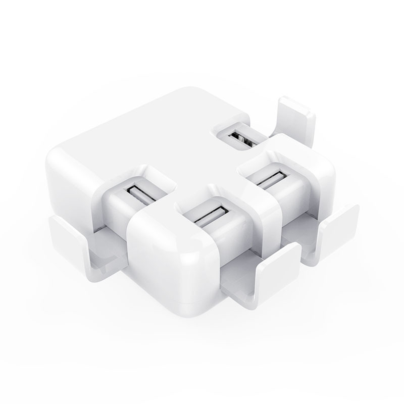 Go2linK EU US Plug 20W 4 Port USB Charger with Smart Super Charging Technology for iPhone, Tablet and More with Phone Bracket