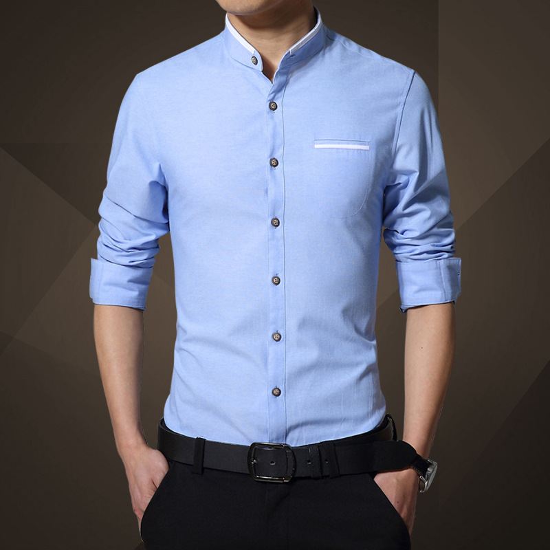 2018 fashion spring men dress shirts formal solid business for In style mens shirts