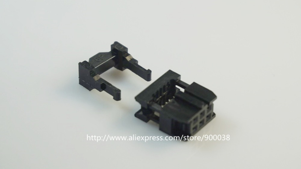 10 Pcs 0.100 2.54mm 6 Pin dual Row IDC Connector  2 rows 6 position Rectangular Female Socket Receptacle Ribbon Cable FC-6 25 pcs 16 position female idc plug flat ribbon cable connectors black