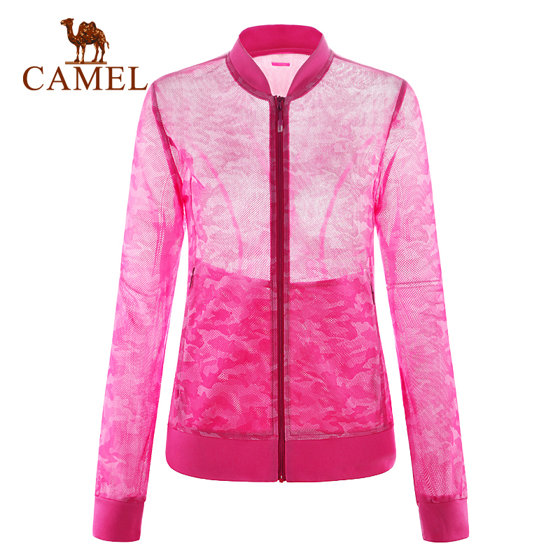 Camel outdoor Women knitted outerwear breathable Camouflage mesh fabric female knitted outerwear A6S131109