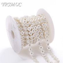 TPSMOC 10yards Sew Trim ABS Flower FlatBack Pearl Rhinestones Chain DIY Jewelry Clothes Material Wedding Decoration pearl chain