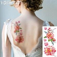 Art Peony flower arm shoulder tattoo stickers flash henna tattoo fake waterproof temporary tattoos sticker women on body