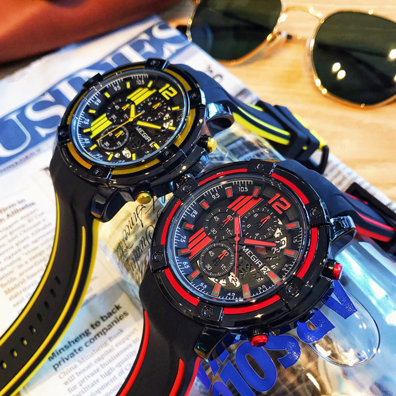 Original Big Dial MEGIR Chronograph Men's Sports Watches Silicone Military Quartz Watch Men Clock Relogio Masculino Reloj Hombre