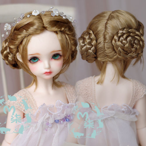 где купить New 1/3 8-9inch 1/4 7-8inch 1/6 6-7inch 1/8 5-6inch Milk Tea Brown Twist Long Wig BJD Doll Wig по лучшей цене