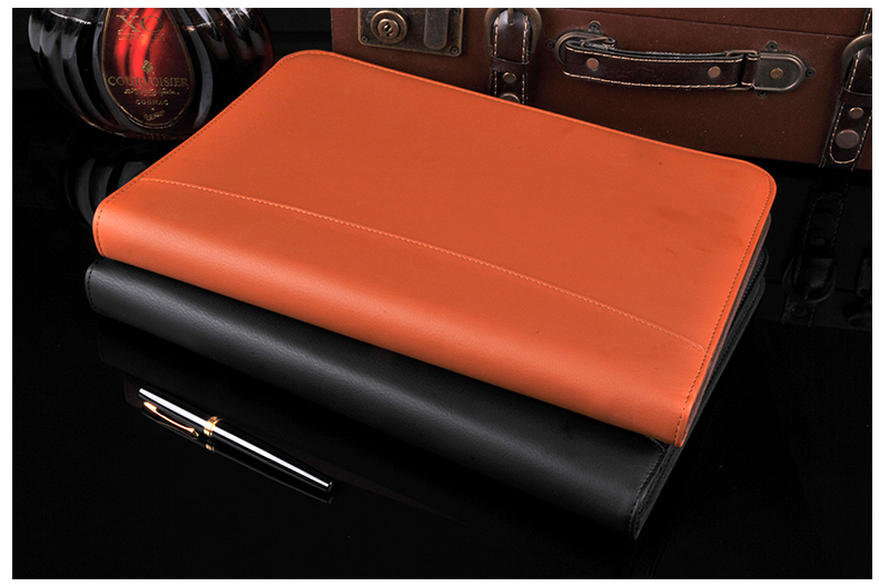 Multifonctionnel PU cuir documents sac affaires zipper portefeuille A4 fichier dossier avec calculatrice fournitures de bureau noir bleu rouge