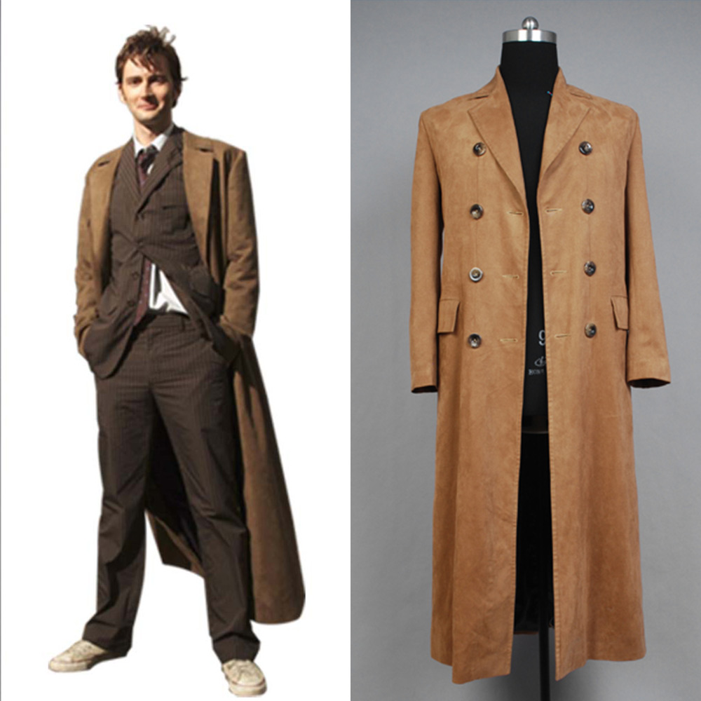 Brown Long Trench Coat Suit Cosplay Costume Halloween Brown//Black Doctor Who Dr