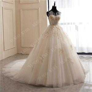 Image 3 - 8 層ファッションシンプルな白のウェディングドレスレースアップリケ真珠ビーズ格安 vestidos デ noiva ブライダルドレスボールガウン 65