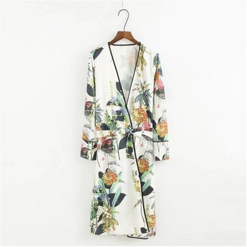 Nice 2017 Leaves Flower Print With Sashes Kimono Shirt Retro New Bandage Mid Long Cardigan Blouse Tops Blusas Chemise Femme Blusa Blouses & Shirts