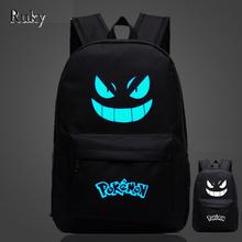 Pokemon Gengar nightlight fashion casual Men's Backpack backpack Anime Luminous teenagers Men women Student Cartoon School Bags