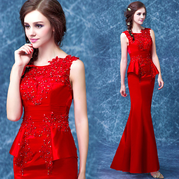 2016 new arrival stock maternity plus size bridal gown evening dress red  fish tail mermaid sexy long lace 7898 fc080373aa1a