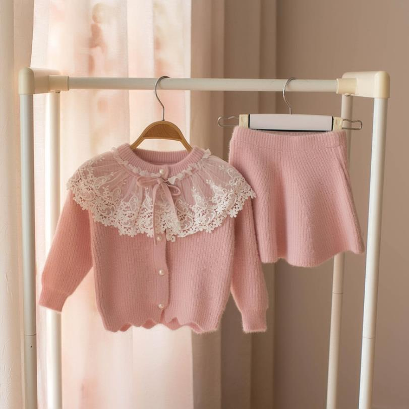 Zestaw ubrań dla dziewczynek koronki sweter z wełny garnitur dla dziewczyna jesień wiosna dla dzieci 2 sztuk odzież stroje dziecięce koszula spódnica odzież wierzchnia