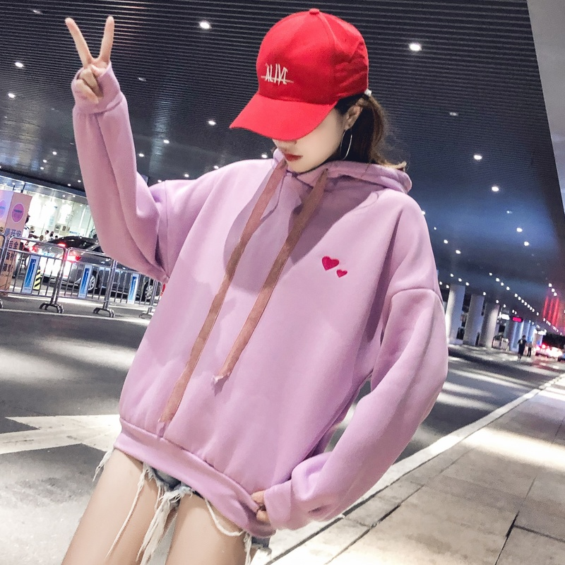 Winter Love Pink Loose Sweashirt  Women Hooded Loose Long Sleeve Solid Color Print Heart Shape 2019 Korea Style Hoodies Women(China)