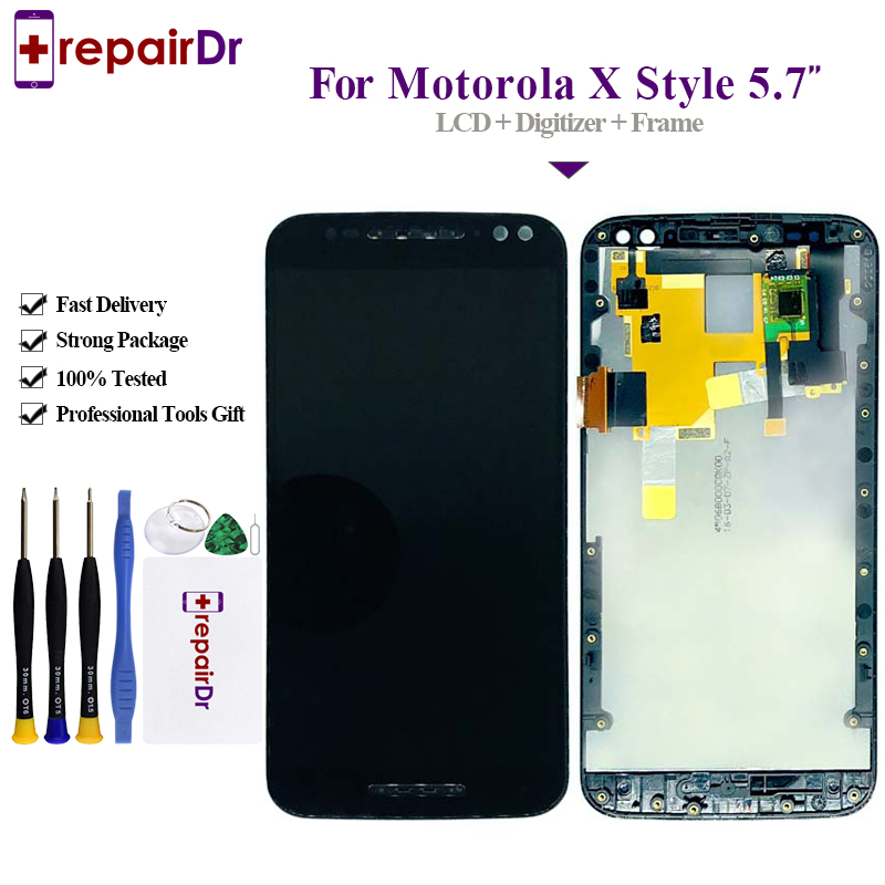 5.7 For Motorola Moto X Style Lcd Display With Touch Screen Digitizer Assembly Complete+Frame For Moto X Style XT1570 Lcd