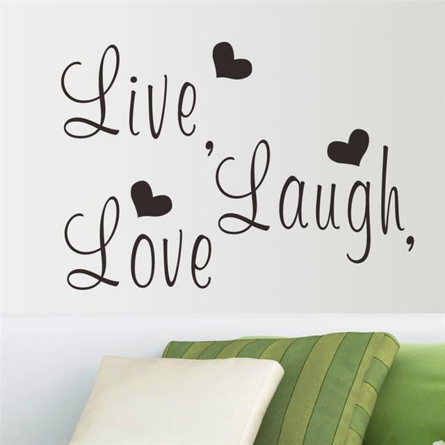 Live laugh love letters vinile wall stickers per camera da letto  decorazione di arte della parete adesivos de parede diy decalco