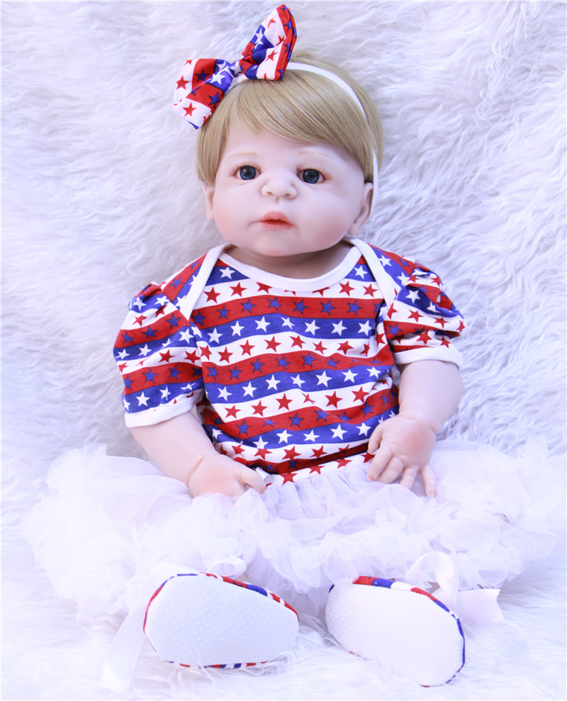 Bebe Reborn girl 22 New arrival blue eyes  Handmade Silicone Lifelike Brinquedos Baby Bonecas baby alive doll for kid Gifts new arrival 18inch doll npk american sweet girl with curly long hair in floral skirt dress bonecas bebe kids gift brinquedos