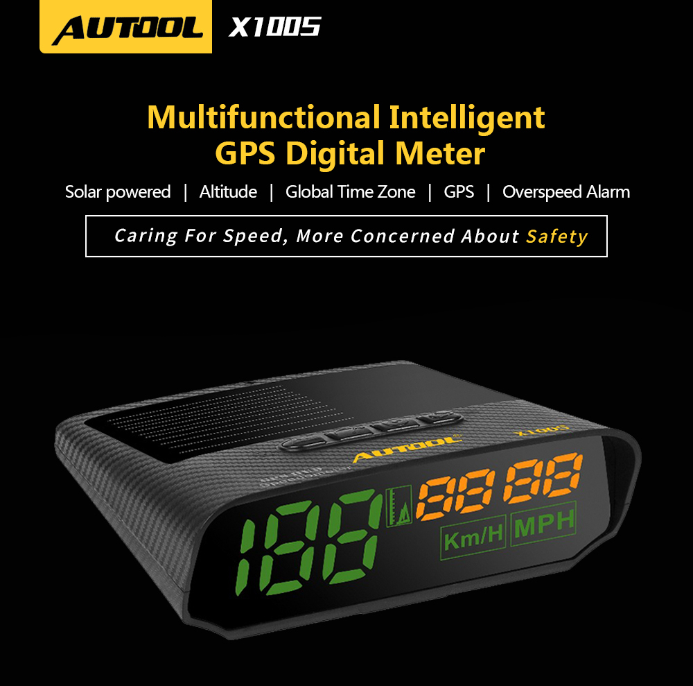 AUTOOL X100S HUD GPS Head Up Display with Solar Panel Digital Speedometer Car Headup Auto Safe