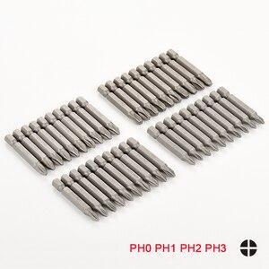 Сверло PH0 PH1 PH2 PH3, 10 шт., нескользящее сверло CRV 1/4 дюйма с шестигранным хвостовиком для электроинструментов 50 мм бит Phillips Набор