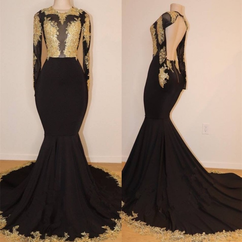 Cinderella Black Scoop Long Sleeves Mermaid Long Train Backless Lace Applique Crystal Satin   Prom     Dresses   Lace   Prom   Party Gown