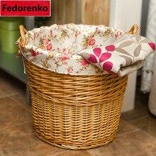 Decorative handmade natural Wicker Woven Basket Organizer Fabric Inside Debris Storage Box cesta lavanderia cesto roupa grande
