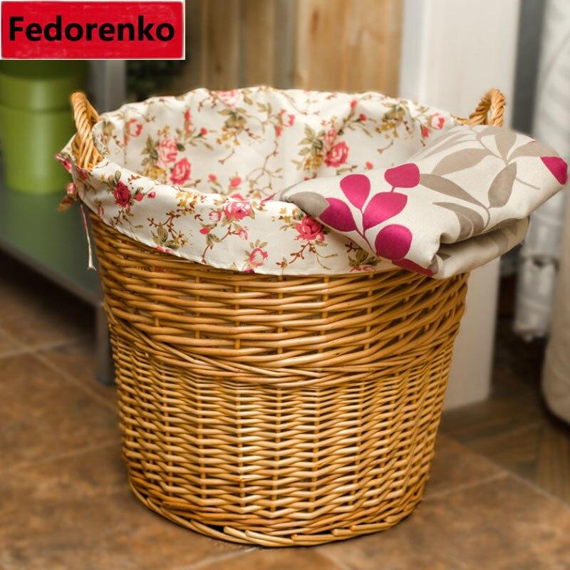 Tissu décoratif fait main en osier naturel tissé organisateur de panier à l'intérieur de la boîte de rangement de débris cesta lavanderia cesto roupa grande