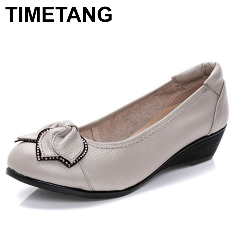 TIMETANG Spring Autumn fashion Woman singles shoes leather soft soled Mother High Heels shoes comfortable women Plus Size C214