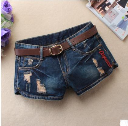 Summer Women Large Size Causal Denim Shorts Ripped Leisure Jeans Short Dark Blue Hole Printing Short Feminino Without Belt J2424