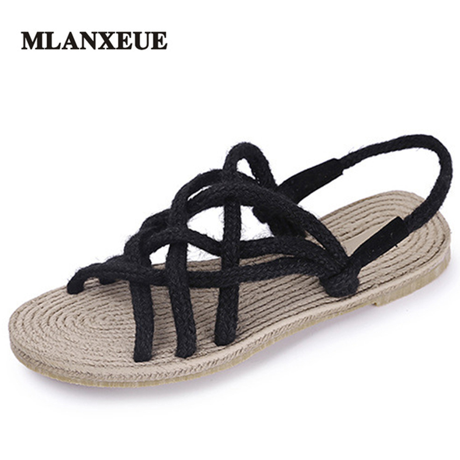 MLANXEUE Weaving Flat Shoes Casuals Gladiator Women Casual Sandals Women Summer Shoes Concise Strap Beach Shoes Hemp instantarts women flats emoji face smile pattern summer air mesh beach flat shoes for youth girls mujer casual light sneakers