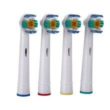 Hot 4 unids/set EB-18A Rotary Higiene Oral B cepillo de Dientes Eléctrico Jefes Reemplazo Oral Cerdas Suaves cabezas de cepillo de Dientes