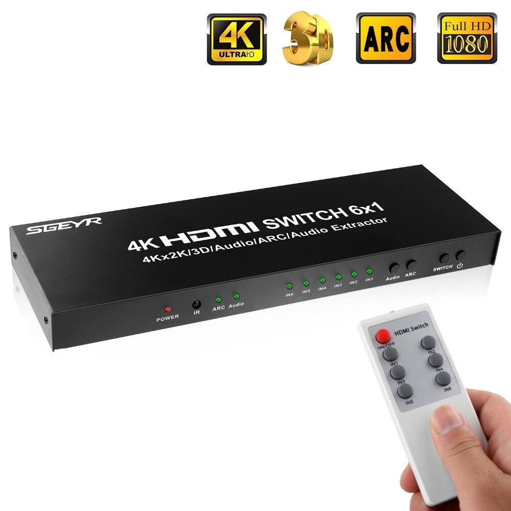 SGEYR 4 K x 2 K Commutateur HDMI Splitter 6 Port HDMI Switch Switcher 4 K HDMI Adaptateur avec Optique, 3.5mm Audio Extracteur ARC Fonction