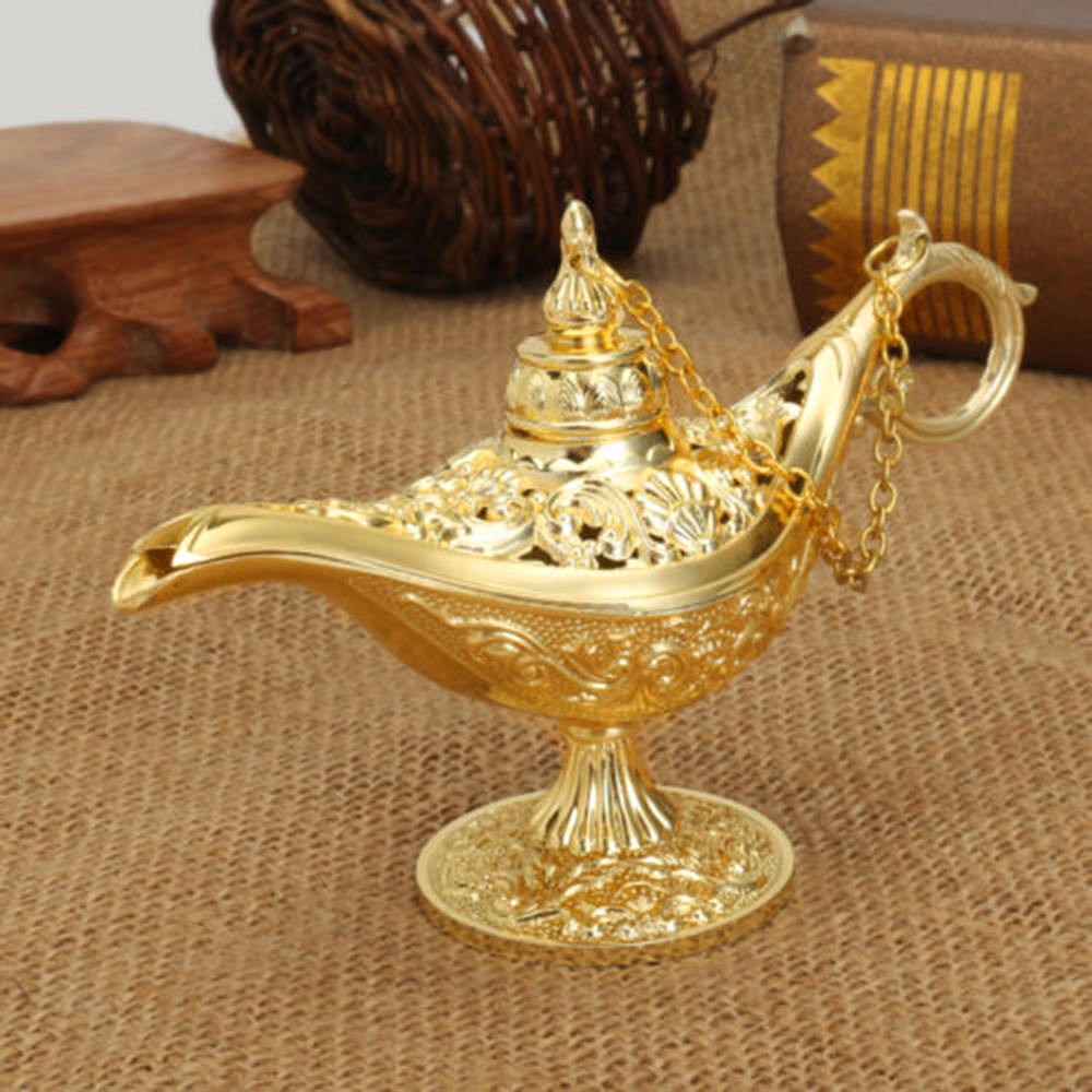 Traditional Hollow Out Fairy Tale Aladdin Magic Lamp Wishing Tea Pot Genie Lamp Vintage Retro Toy For Home Decor Ornaments