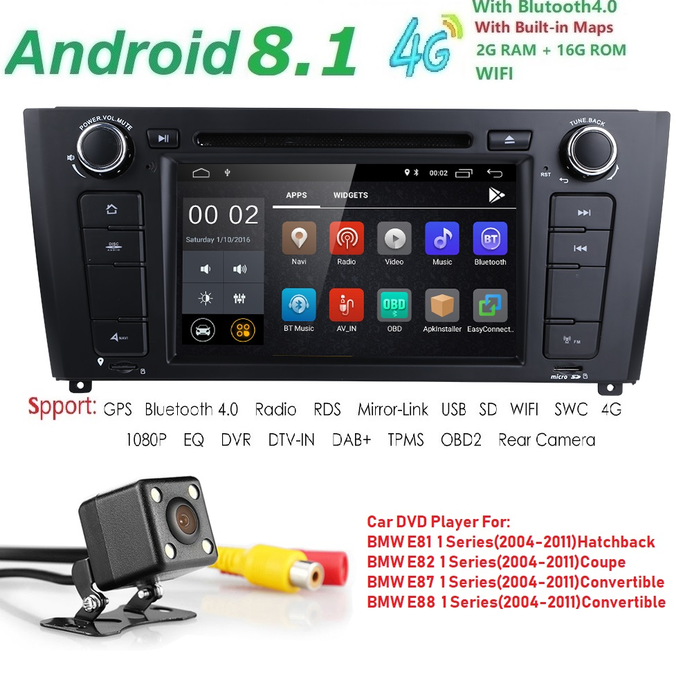Lecteur DVD de voiture Pour BMW 1 Série E87 E81 E82 E88 I20 2004-2011 1 Din Android 8.1 GPS écran Multimédia Navigation CFC BT OBD2 Wifi
