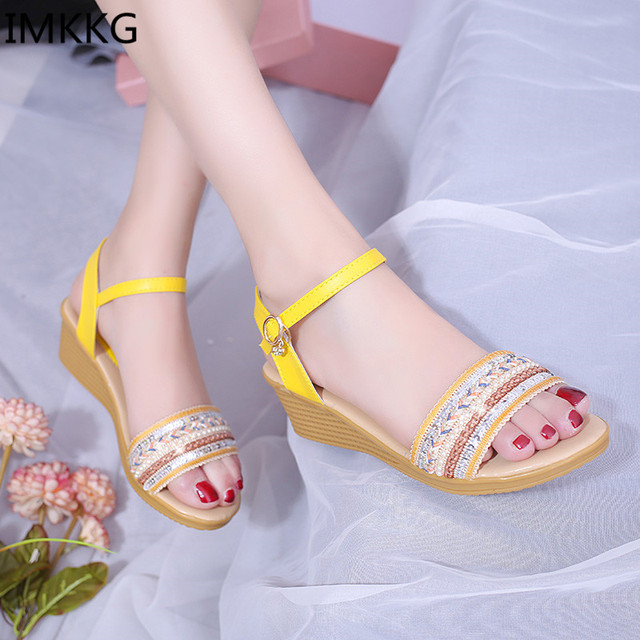 450318395aa3 2017 Summer New Women Sandals woman Open Toe Fish Head Fashion wedge med  heels shoes girls ethnic style shoes g057