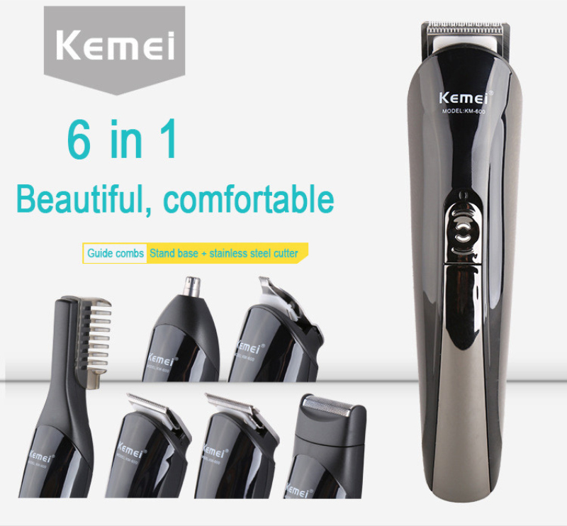 Kemei 6 in 1 Professional Hair Clipper Electric Shaver Bread Nose Hair Trimmer Cutters Full Set Family Personal Care