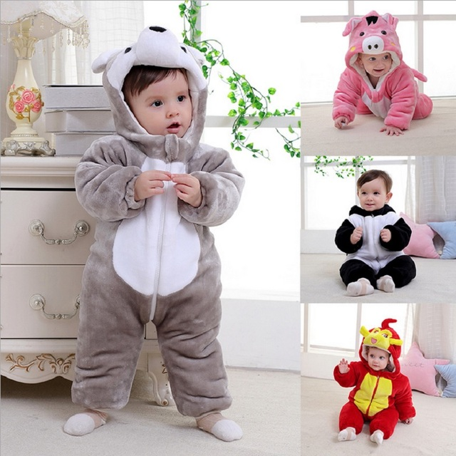 aa65e00b0 Cute Animal Costume Baby Rompers Fleece Thick Padded Newborn Outfits ...