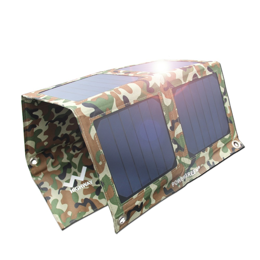 Solar Charger PowerGreen 21 Watts Folding Solar Panel External Battery Foldable Solar Power Bank for Cell Phone for Hiking