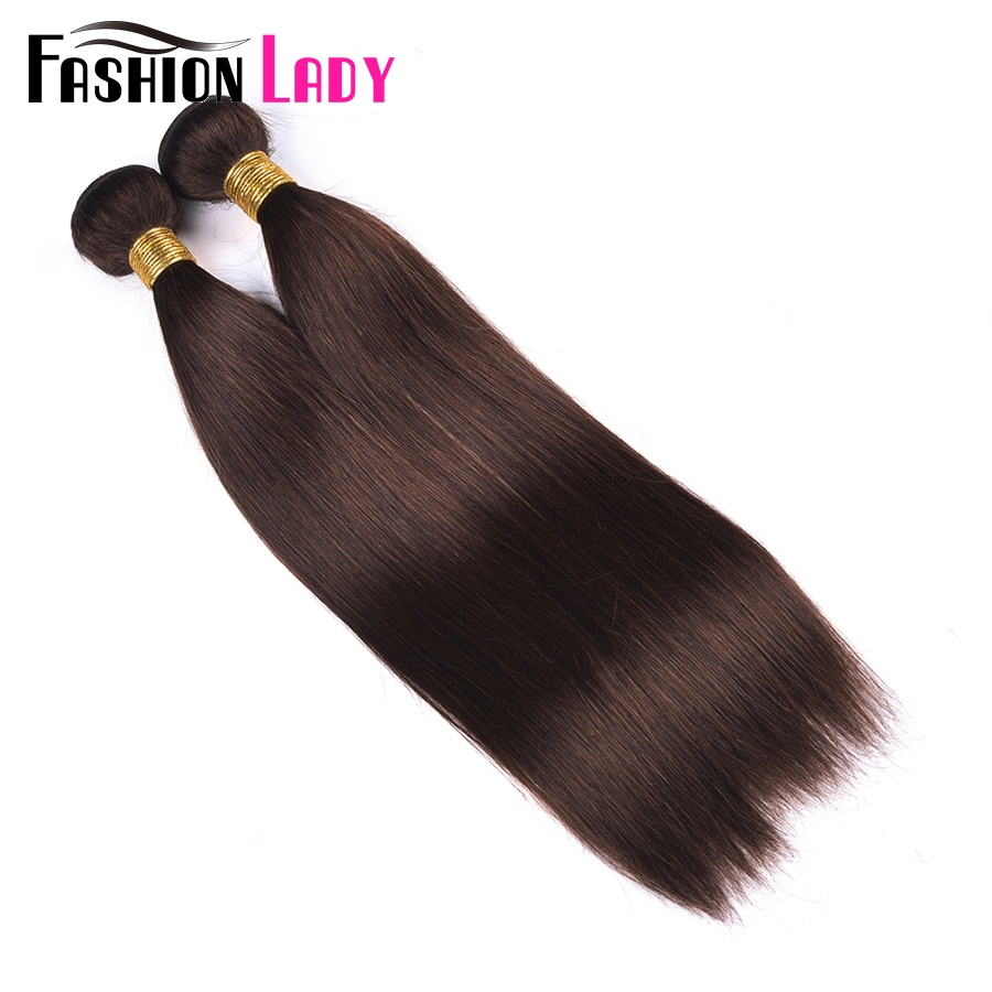 Image 2 - Fashion Lady Pre Colored Indian Human Hair Weave Straight Hair Bundles Dark Brown Color #2 3 Bundles Human Hair Bundles Non Remy-in Hair Weaves from Hair Extensions & Wigs