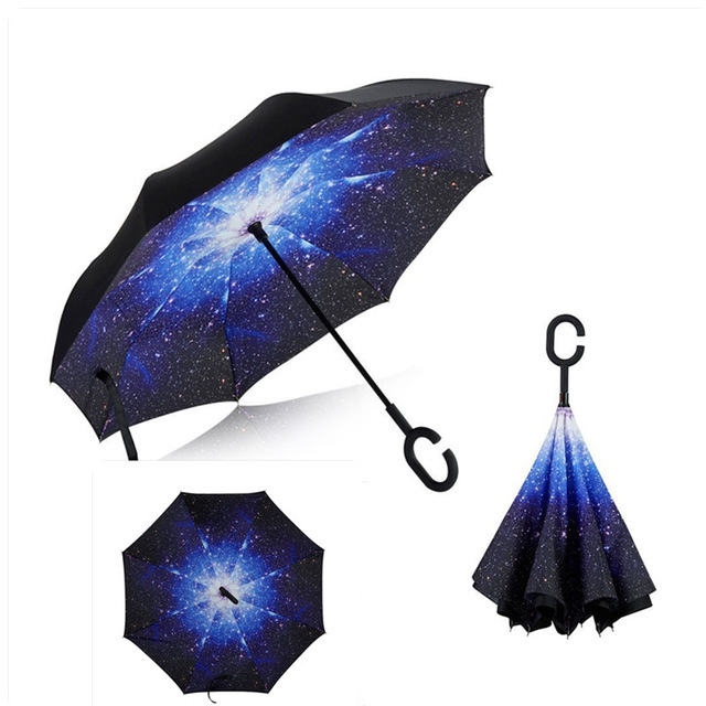 Windproof Reverse Folding Double Layer inverted car Umbrella Self Stand  upside down women s rain umbrella c handle drop shipping 56c222c0c66ed