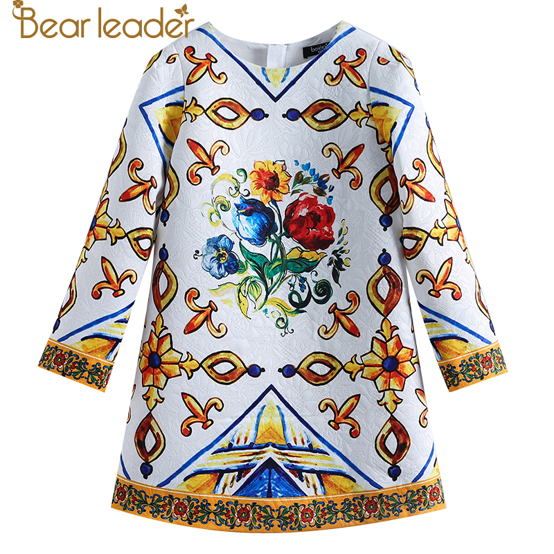 Bear Leader 2018 New European And American Style Kids Clothing Printing Floral Pattern Long Sleeves Girl Dresses For 4-14 Year black floral print 3 4 length sleeves long coat