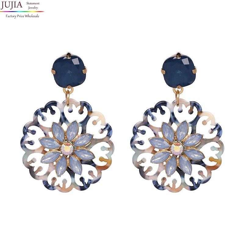 Оптовая продажа JUJIA 2020 хорошего качества, большие круглые полимерные цветочные модные женские Эффектные серьги, висячие серьги для вечевеч...
