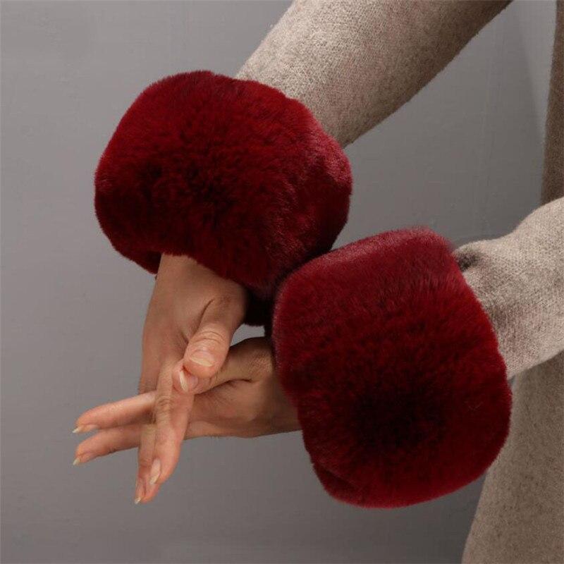 Armstulpen Winter Komfortable Fee Faux Kaninchen Frauen Pelz Arm Wärmer Nette Zubehör Weichen Flauschigen Manschette Damen Warme Armband W111 Bekleidung Zubehör